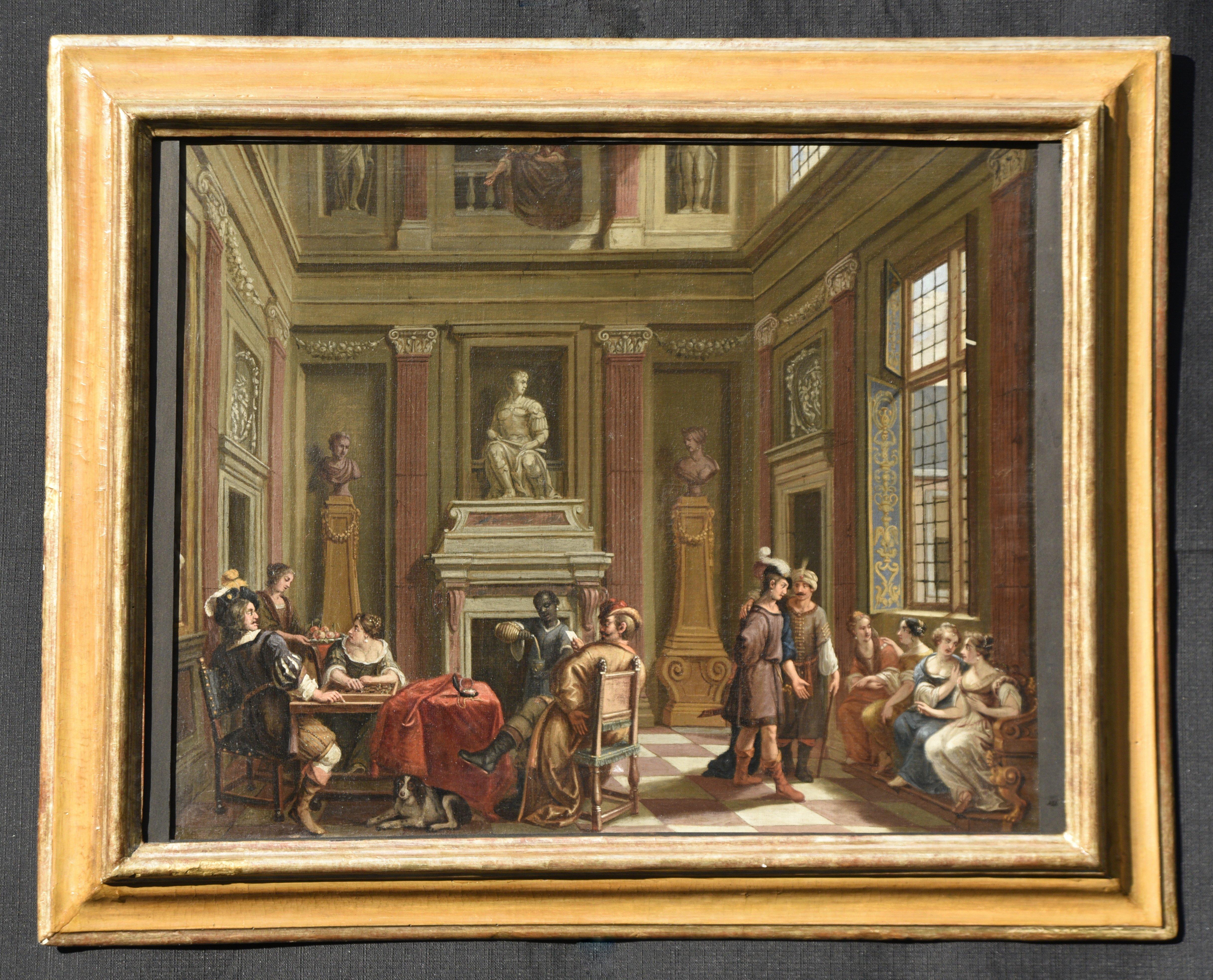 Interno palazzo con figure- olio su tela - Contattare per il prezzo