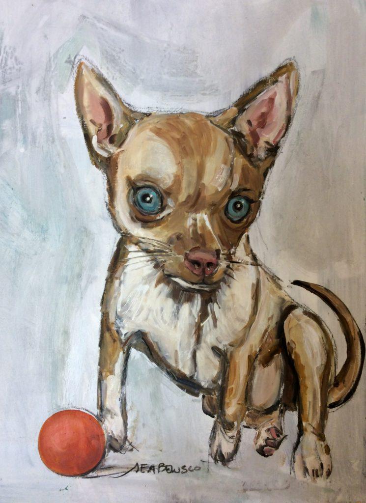 Chihuahua - Olio su tavola - Contattare per il prezzo