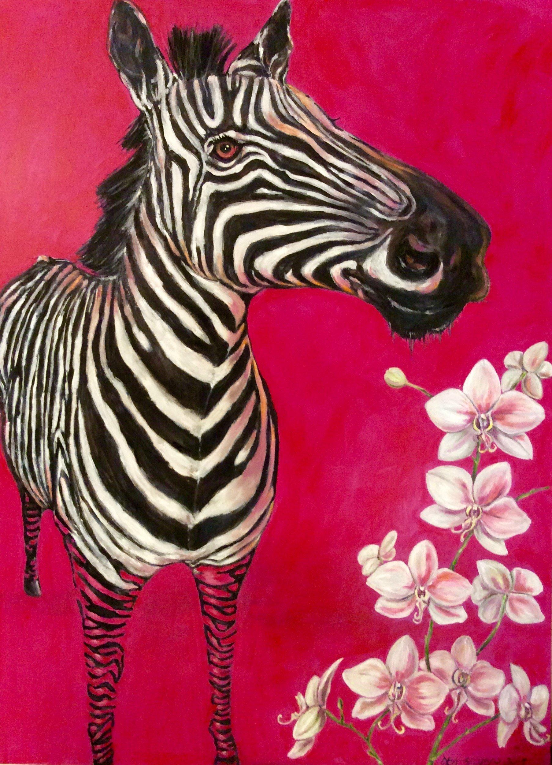 Zebra - Olio su Tavola - Contattare per il prezzo