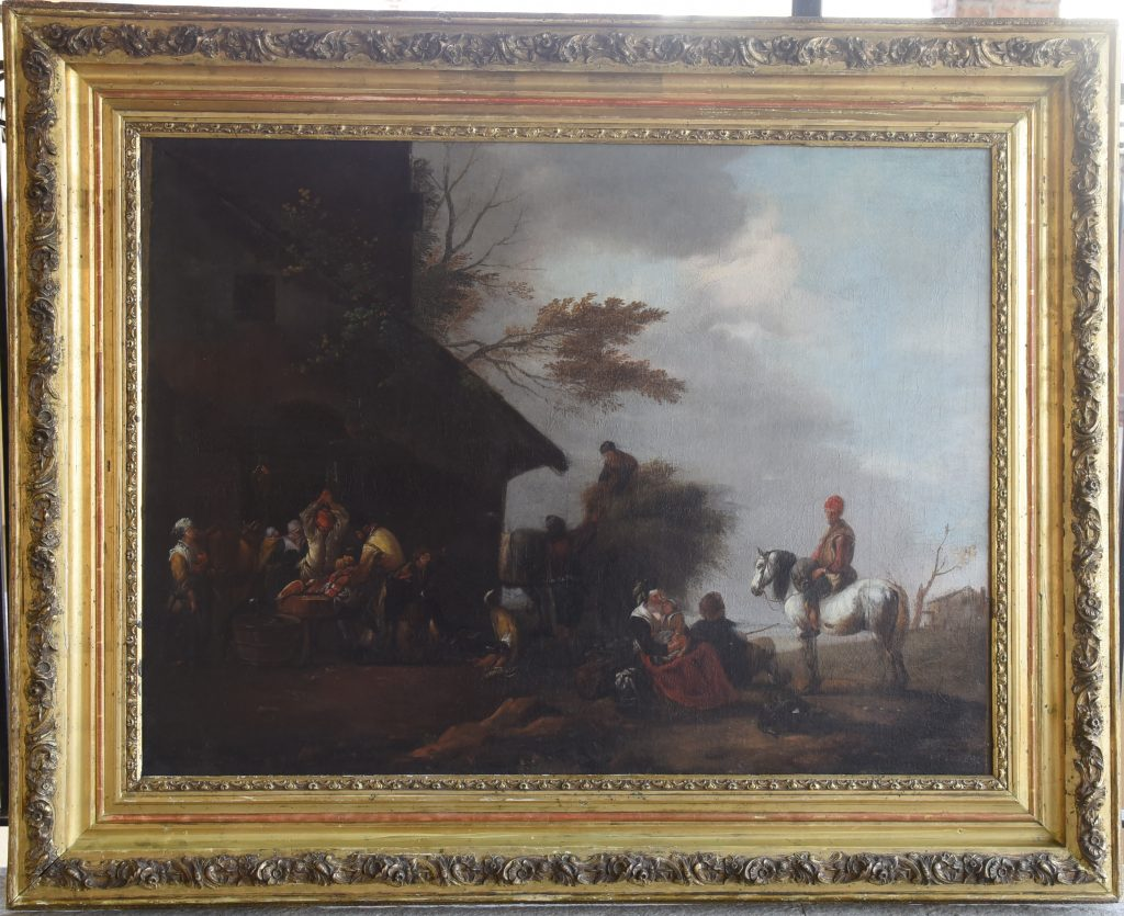 Peasants outside a butcher's shop - oil on canvas - Contact for price