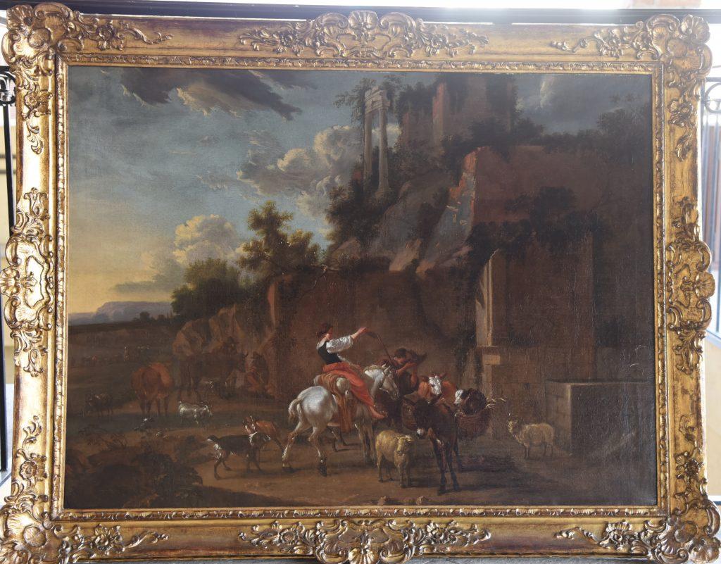 Landscape with Herdsmen Beneath Ruins - oil on canvas - Contact for price