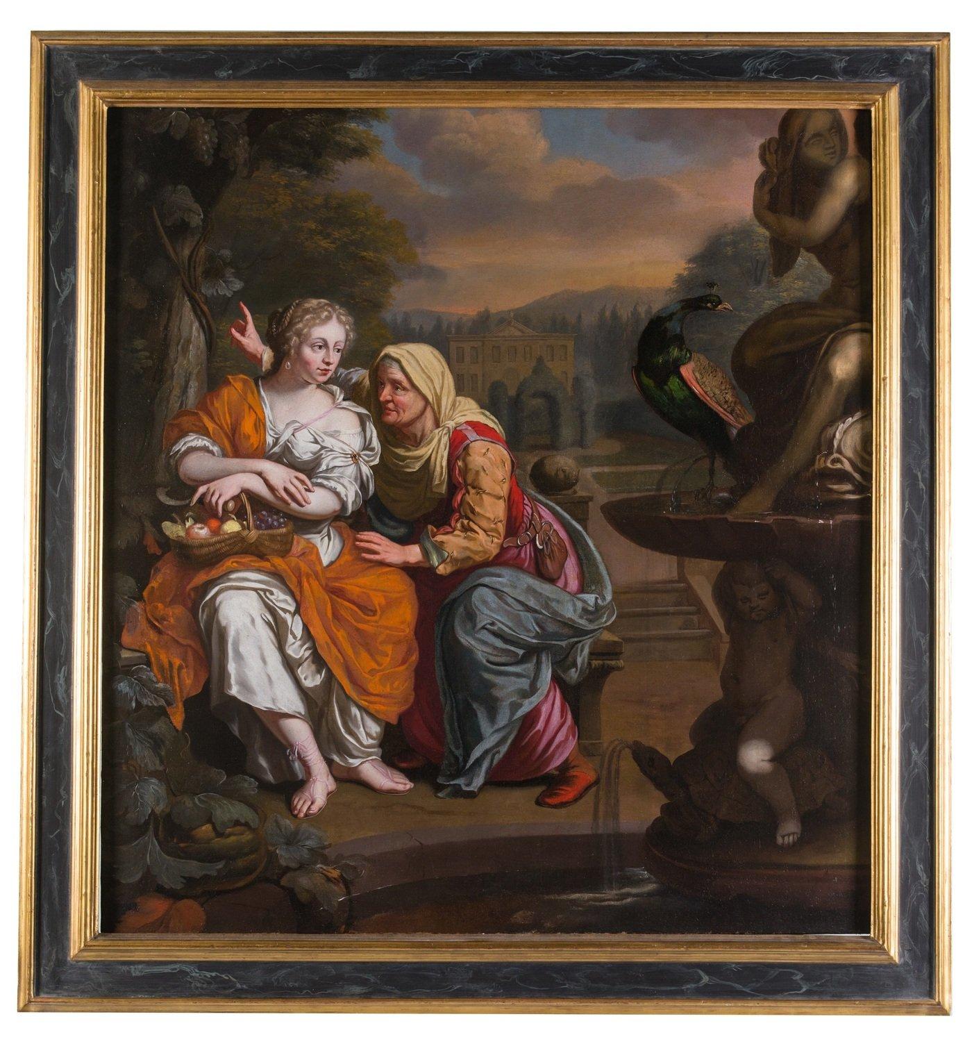 """Antico dipinto del XVII secolo """"Vertumno e Pomona"""""""