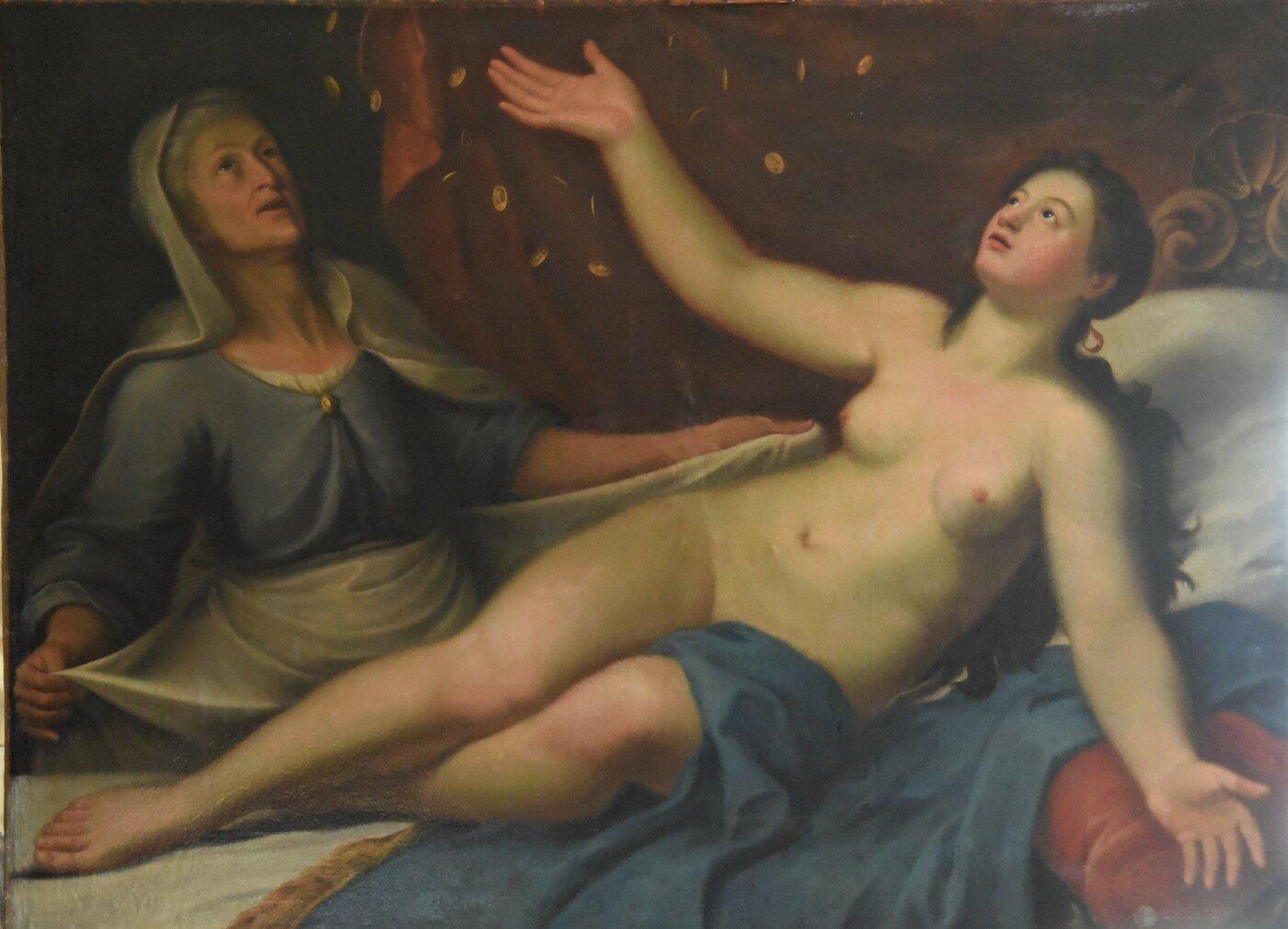 """Cod. D 177 Antico dipinto del XVIII secolo """" Dana e Giove il Mito della Pioggia d'oro"""""""