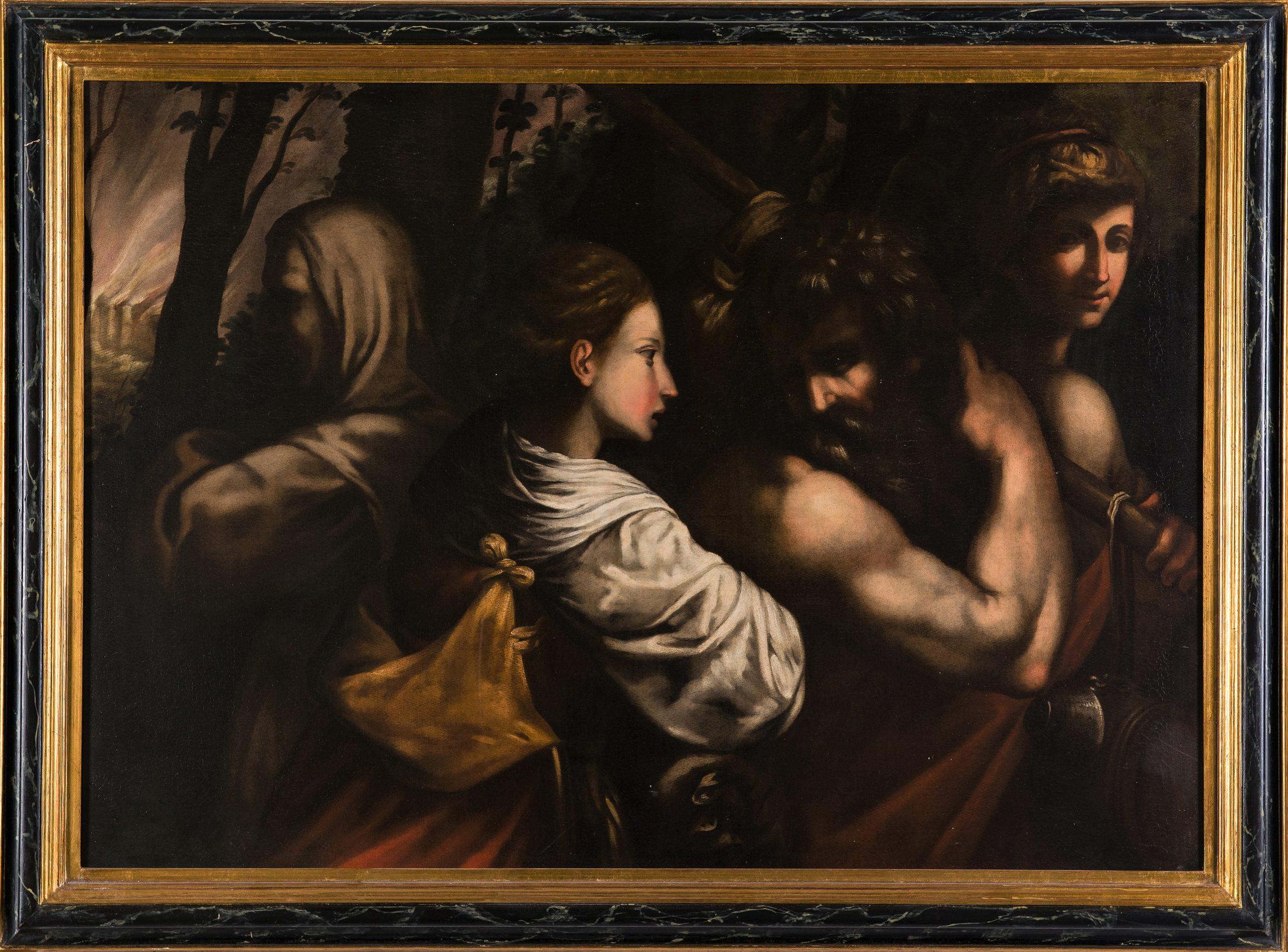 COD. 179 Lot e le figlie ( Sodoma e Gomorra) Antico dipinto del XVII secolo