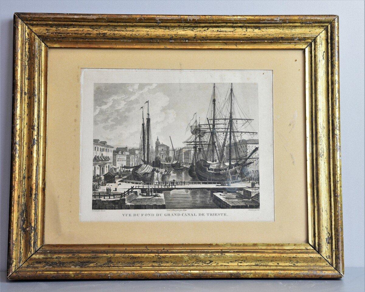 """Incisione originale con disegno di Francoise Louise Cassas """"Porto di Trieste"""""""