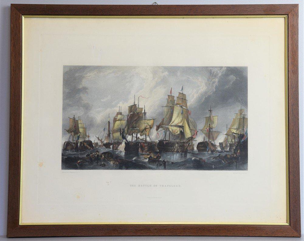 Incisione originale con disegno acquarellato  Battaglia di Trafalgar