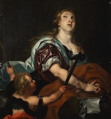 """Antico dipinto del XVII secolo """"La conversione di Maddalena """""""